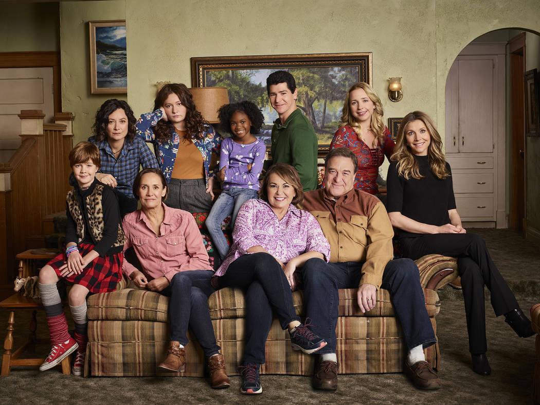 """ABC's """"Roseanne"""" stars Ames McNamara as Mark, Sara Gilbert as Darlene Conner, Laurie Metcalf as Jackie Harris, Emma Kenney as Harris Conner, Jayden Rey as Mary, Roseanne Barr as Roseanne Conner, M ..."""