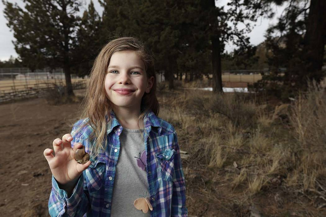 Naomi Vaughan, 7, holds an ammonite fossil near the spot where she found it at the 15th Street soccer fields in Bend, Oregon., on Wednesday, March 7, 2018. Ammonite is an extinct marine invertebra ...