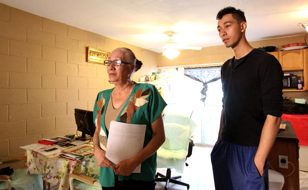 Silveria Caban, 58, and her son Jacob Edward Delgado, 23, talk to a reporter at their Las Vegas apartment Friday, March 16, 2018. Both were admitted to North Vista Hospital's psych ward, and claim ...