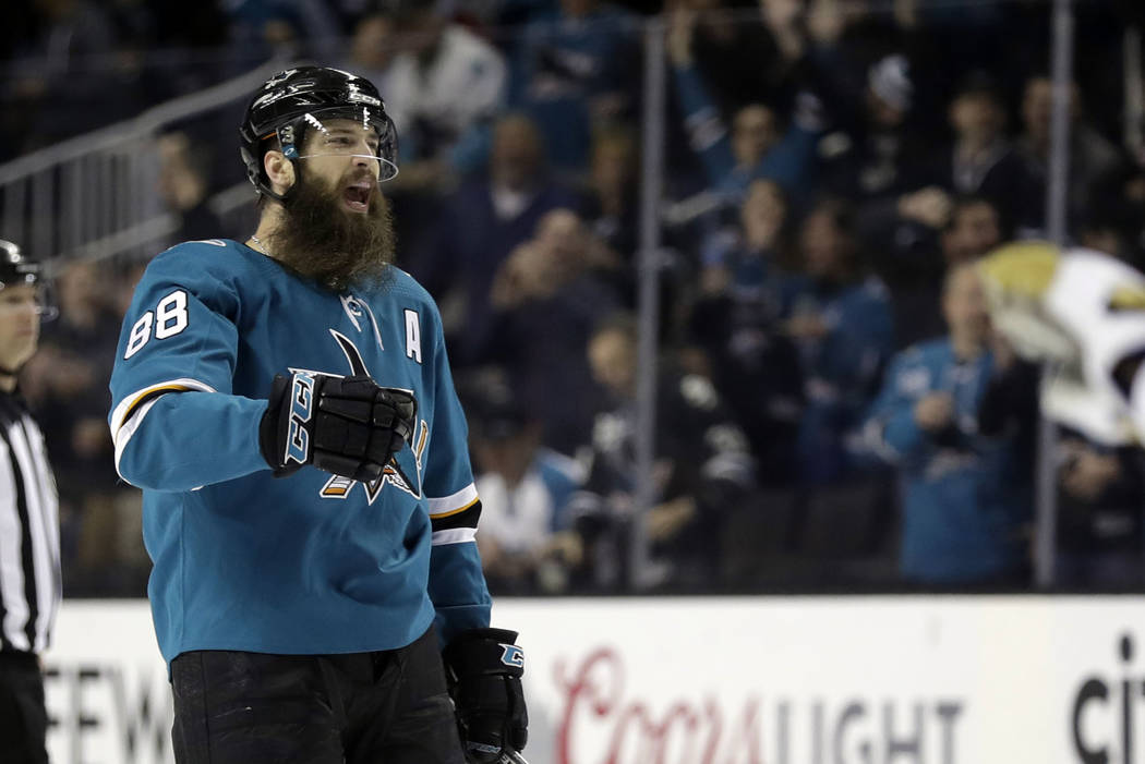 San Jose Sharks' Brent Burns celebrates after scoring against the Vegas Golden Knights during the second period of an NHL hockey game Thursday, March 22, 2018, in San Jose, Calif. (AP Photo/Marcio ...