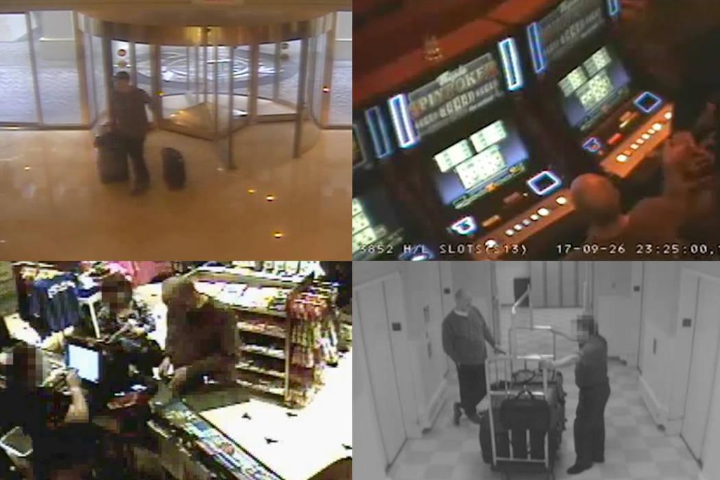 Various security footage shots of Stephen Paddock at Mandalay Bay. MGM Resorts