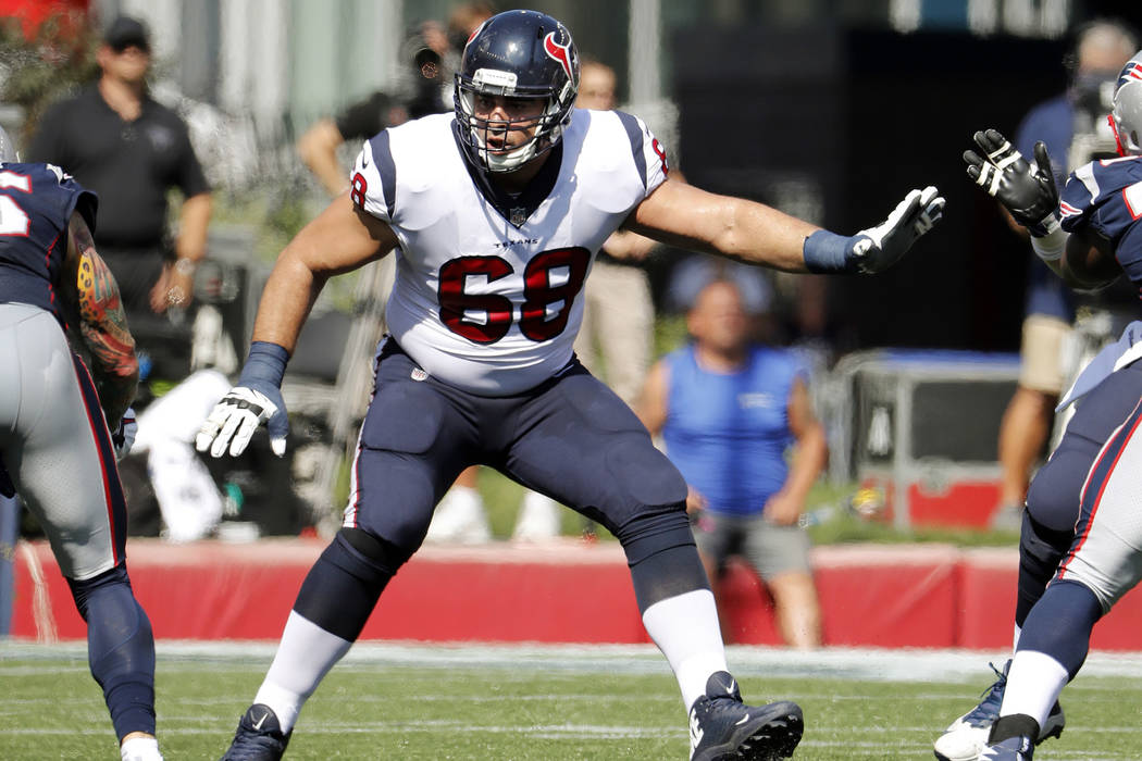 Houston Texans offensive tackle Breno Giacomini during an NFL football game against the Houston Texans at Gillette Stadium in Foxborough, Mass. Sunday, Sept. 24, 2017. (Winslow Townson/AP Images f ...