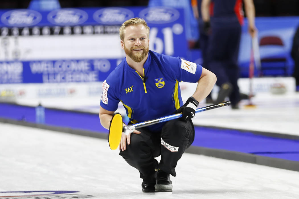 Team Sweden's Niklas Edin competes in the round-robin games for the World Men's Curling Championship 2018 at the Orleans Arena in Las Vegas on Saturday, March 31, 2018. Andrea Cornejo Las Vegas Re ...