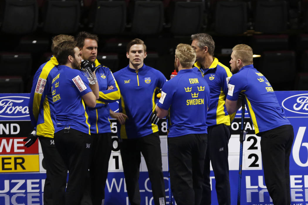 Team Sweden members talk during the round-robin games for the World Men's Curling Championship 2018 at the Orleans Arena in Las Vegas on Saturday, March 31, 2018. Andrea Cornejo Las Vegas Review-J ...