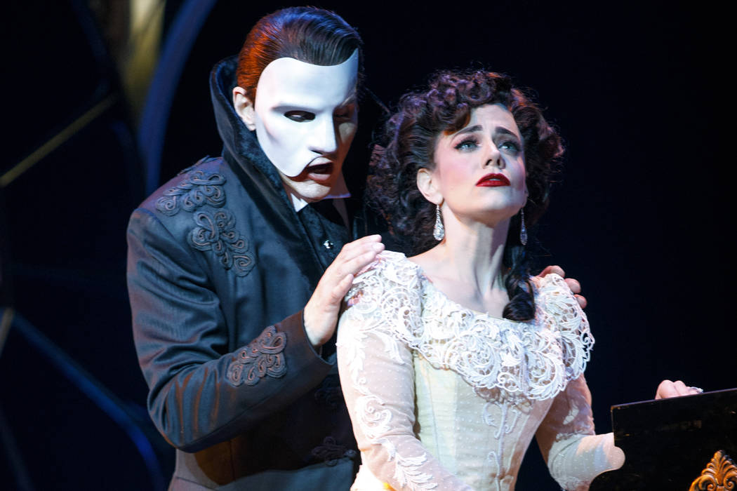 """Gardar Thor Cortes (as the Phantom) and Meghan Picerno (as Christine Daae) star in """"Love Never Dies,"""" the """"Phantom of the Opera"""" sequel opening March 20 at The Smith Center."""