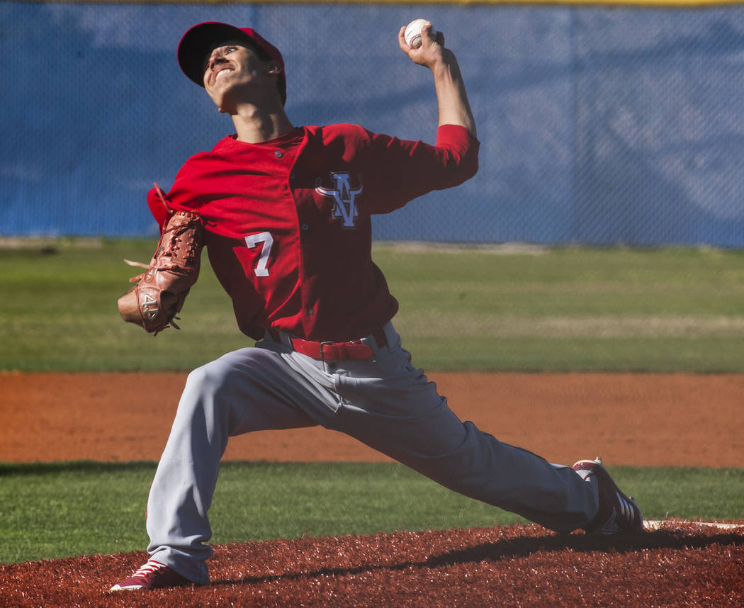 Arbor View pitcher Anthony Soprano pitches during the second inning while playing against Centennial Hills at Centennial Hills High School in Las Vegas on Friday, March 23, 2018. Centennial won 11 ...