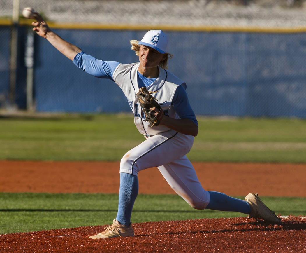 Centennial pitcher Nik Dobar pitches against Arbor View during the fourth inning at Centennial Hills High School in Las Vegas on Friday, March 23, 2018. Centennial won 11-2.  Patrick Connolly Las  ...