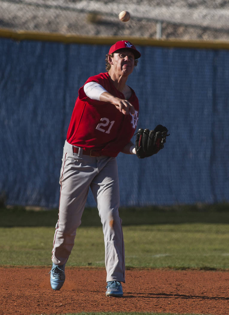 Arbor View infielder Austin Pfeifer throws toward first looking to make a play against Centennial during the fourth inning at Centennial Hills High School in Las Vegas on Friday, March 23, 2018. C ...