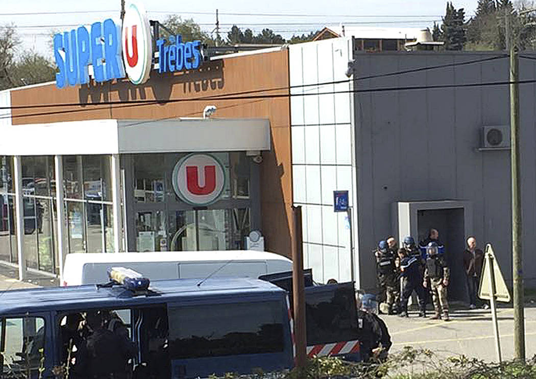 An armed man took hostages in a supermarket in Trebes, southern France, on Friday March 23, 2018, killing three and injuring about a dozen others, police said. The gunman was shot and killed by po ...