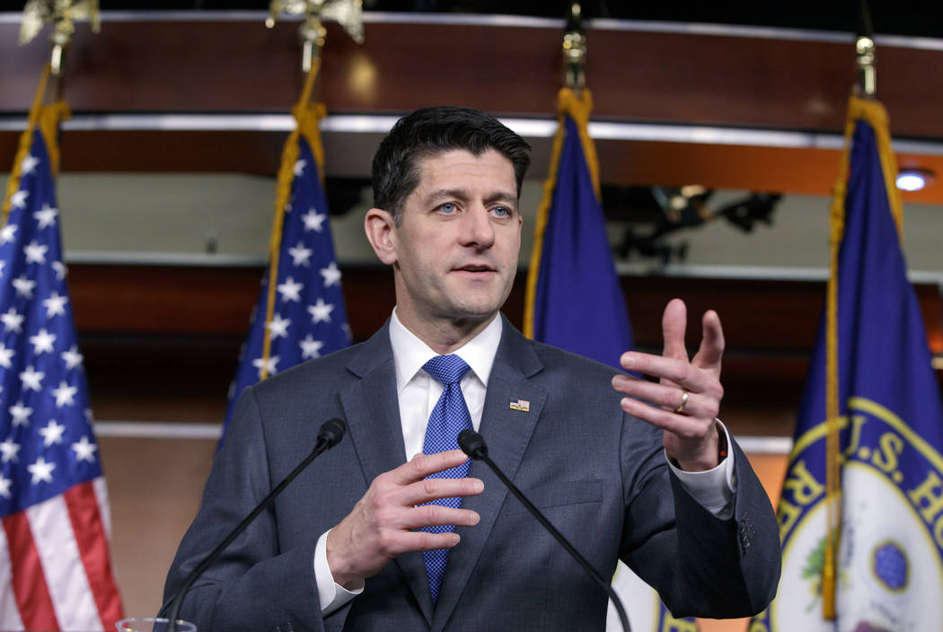 Speaker of the House Paul Ryan, R-Wis., speaks during a news conference about the massive government spending bill moving through Congress, on Capitol Hill in Washington, Thursday, March 22, 2018. ...