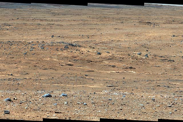 This Sept. 7, 2013 image provided by NASA, taken by NASA's Curiosity rover shows a view of Gale Crater near the Mars equator. Experiments by Curiosity found no trace of methane gas in the M ...