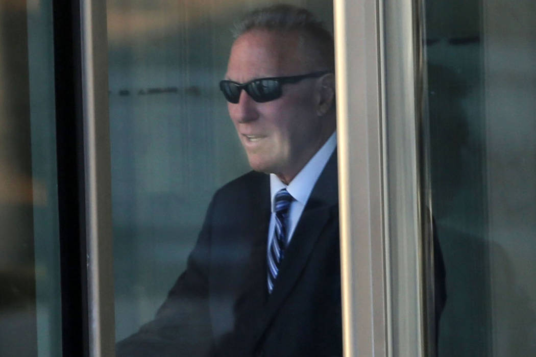 This Sept. 14, 2017, file photo shows Edward Levine leaving the federal courthouse in Las Vegas after receiving a guilty verdict for illegally selling the horns of an endangered black rhinoceros.  ...
