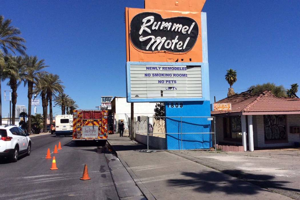 A fire damaged the vacant Rummel Motel, 1801 Las Vegas Blvd. South, on Friday, March 23, 2018. (Las Vegas Fire Department)