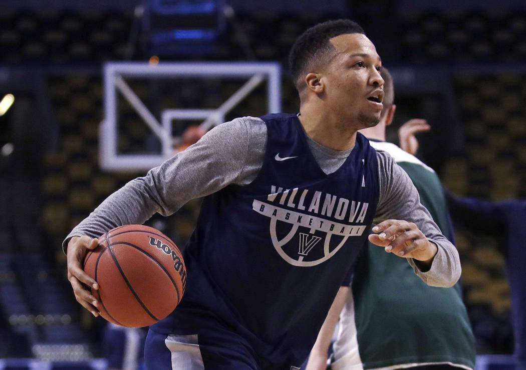 Villanova's Jalen Brunson drives during practice at the NCAA men's college basketball tournament in Boston, Thursday, March 22, 2018. Villanova faces West Virginia in a regional semifinal on Frida ...