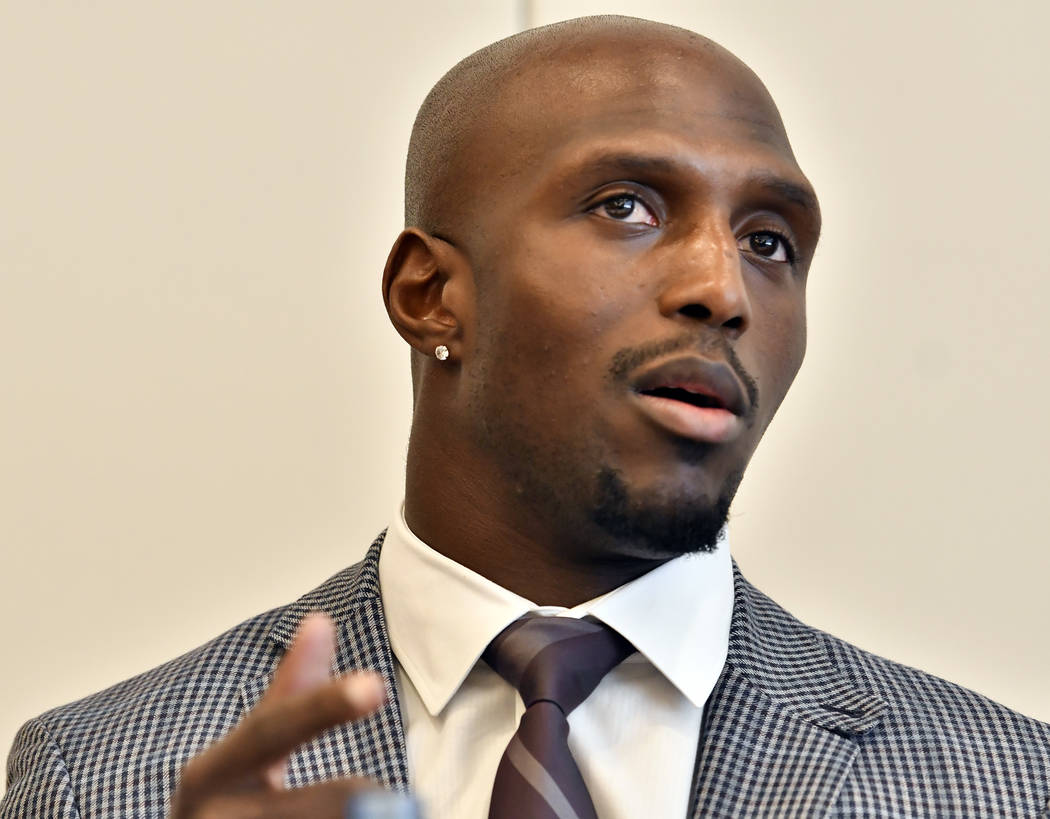 New England Patriots' Devin McCourty, speaks during a session to discuss criminal justice issues with other current and former NFL football players at Harvard Law School, Friday, March 23, 2018, i ...
