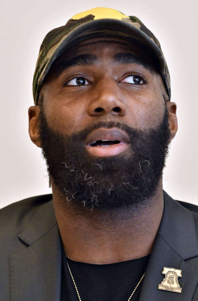 Philadelphia Eagles' Malcolm Jenkins, speaks during a session to discuss criminal justice issues with other current and former NFL football players at Harvard Law School, Friday, March 23, 2018, i ...