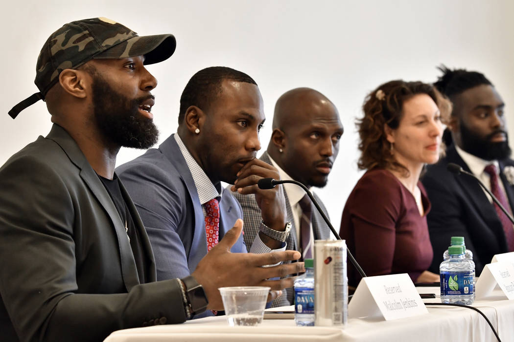 Philadelphia Eagles' Malcolm Jenkins, left, speaks, as former NFL player Anquan Boldin, New England Patriots' Devin McCourty, moderator New York Times Magazine's Emily Bazelon, and New Orleans Sai ...