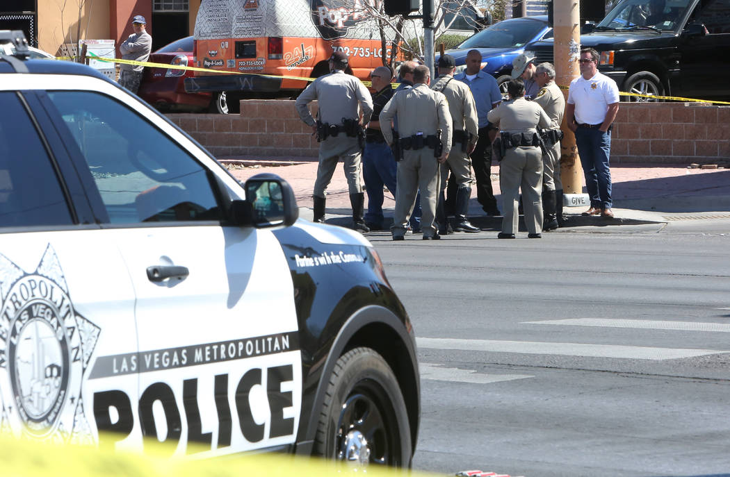 Las Vegas police are investigating a fatal auto-pedestrian crash near Charleston Boulevard and Brush Street on Friday, March 23, 2018, in Las Vegas. (Bizuayehu Tesfaye/Las Vegas Review-Journal) @b ...