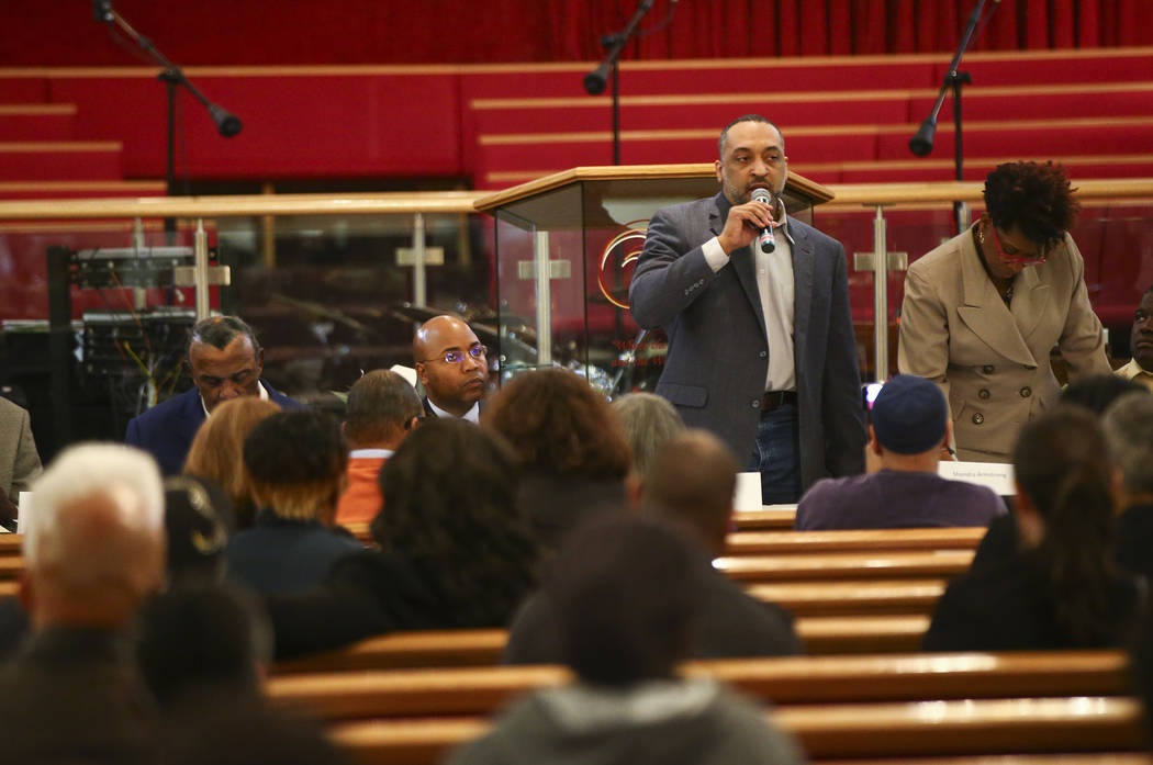 Las Vegas City Council candidate Randy Voyard speaks during a forum of candidates competing to represent the city's Ward 5 at Victory Missionary Baptist Church in Las Vegas on Wednesday, March 21, ...