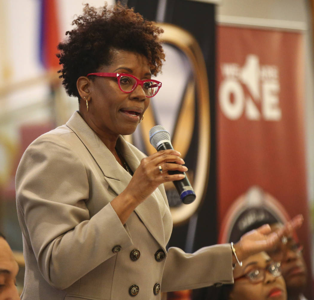 Las Vegas City Council candidate Shondra Summers-Armstrong speaks during a forum of candidates competing to represent the city's Ward 5 at Victory Missionary Baptist Church in Las Vegas on Wednesd ...