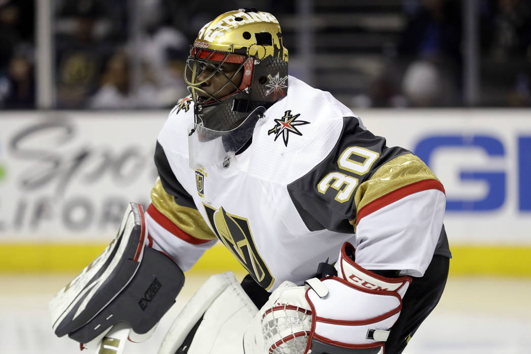 Vegas Golden Knights goaltender Malcolm Subban (30) during the second period of an NHL hockey game against the San Jose Sharks Thursday, March 22, 2018, in San Jose, Calif. (AP Photo/Marcio Jose S ...