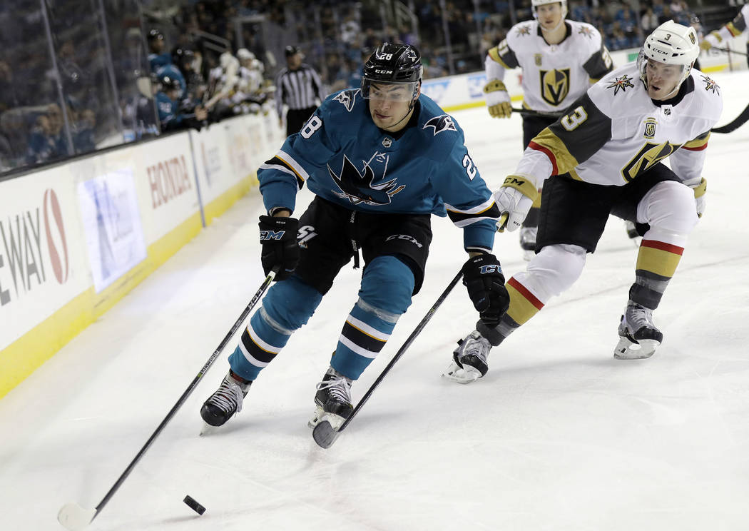 San Jose Sharks' Timo Meier (28) is chased by Vegas Golden Knights' Brayden McNabb (3) during the second period of an NHL hockey game Thursday, March 22, 2018, in San Jose, Calif. (AP Photo/Marcio ...