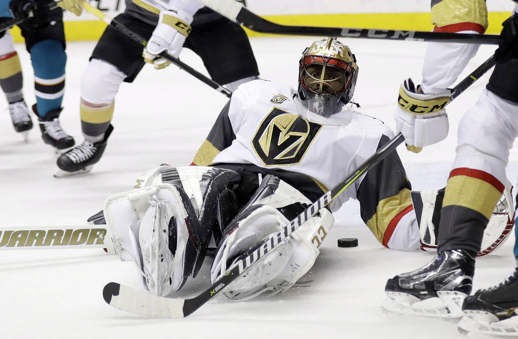 Vegas Golden Knights goaltender Malcolm Subban (30) makes a save against the San Jose Sharks during the second period of an NHL hockey game Thursday, March 22, 2018, in San Jose, Calif. (AP Photo/ ...