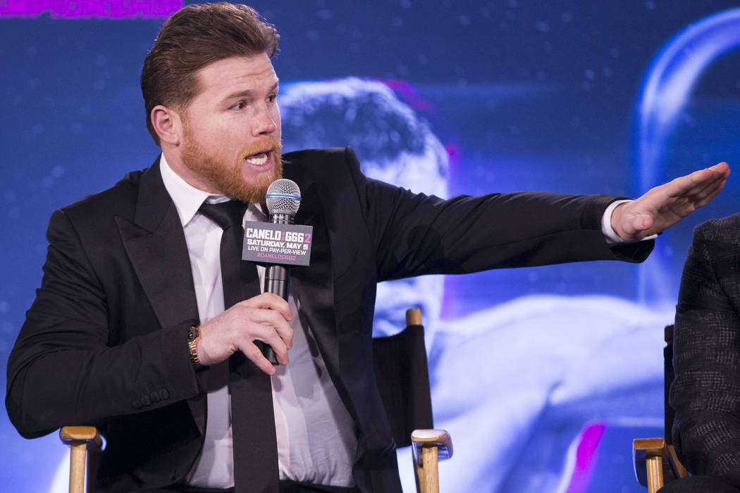 """Saul """"Canelo"""" Alvarez during a press conference for his upcoming fight, at Microsoft Square in Los Angeles, Calif., Tuesday, Feb. 27, 2018. Erik Verduzco Las Vegas Review-Journal @Erik_V ..."""
