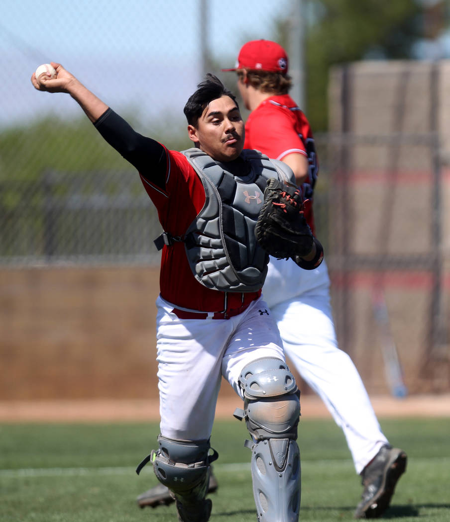 Las Vegas catcher Daniel Jimenez throws to first base in the first inning of a baseball game against Rim of the World (Calif.) at Las Vegas High School Monday, March 26, 2018. K.M. Cannon Las Vega ...