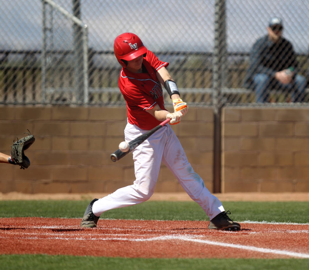 Las Vegas' Joel Lindahl connects in the first inning of a baseball game against Rim of the World (Calif.) at Las Vegas High School Monday, March 26, 2018. K.M. Cannon Las Vegas Review-Journal @KMC ...