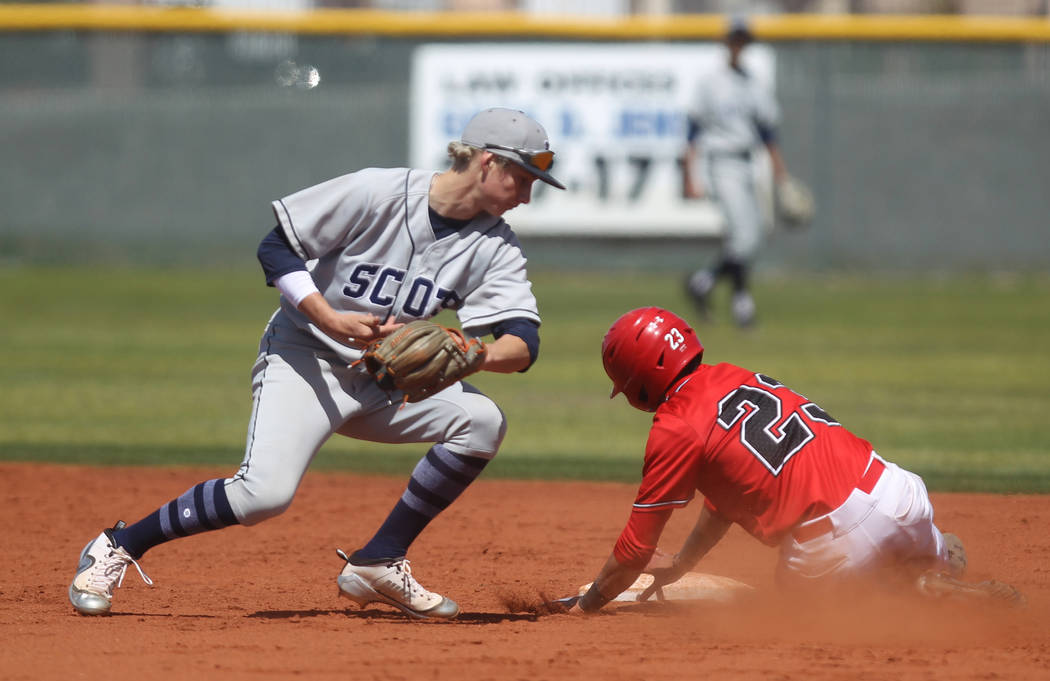 Las Vegas baserunner Kevin Verduzco slides safely into second base past Deagan Risnes of Rim of the World (Calif.) in the second inning of their baseball game at Las Vegas High School Monday, Marc ...