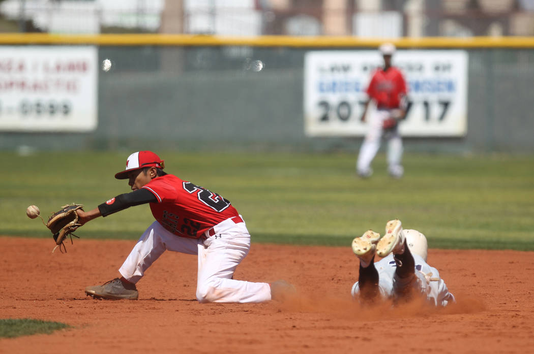 Las Vegas infielder Layne Adaro fields the throw as Rim of the World (Calif.) baserunner Colin Morris slides safely into second base in the third inning of their baseball game at Las Vegas High Sc ...