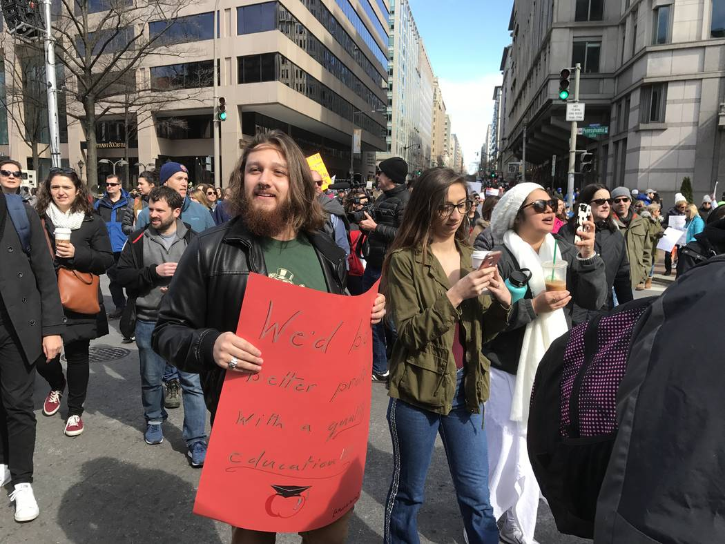David Lopez-Wade, Caitlyn Caruso and Cecelia Gonzalez of Las Vegas at the March for Our Lives in Washington D.C. Gary Martin Las Vegas Review-Journal @garymartindc
