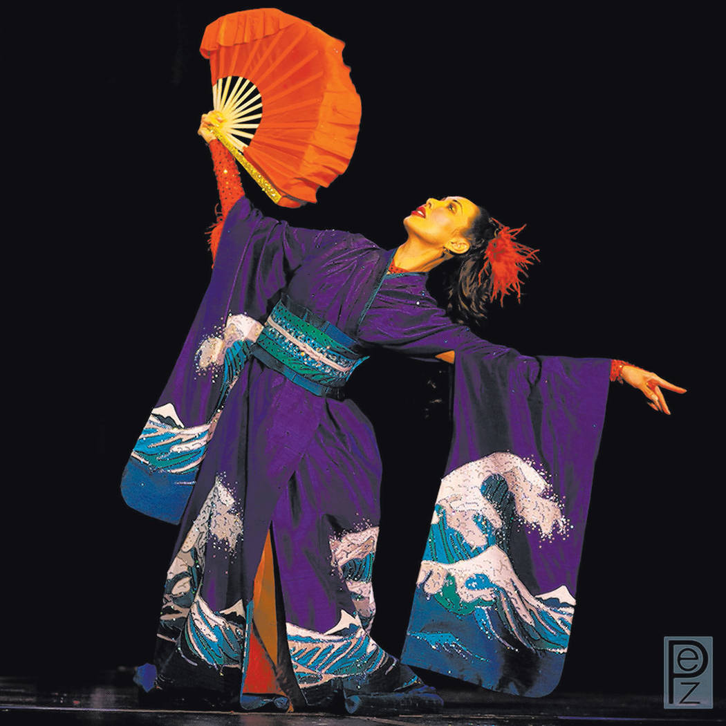 Kalani Kokonuts performs her signature geisha dance at Sapphire Comedy Hour. (Courtesy/Kalani Kokonuts, Richard Anderson Photography)
