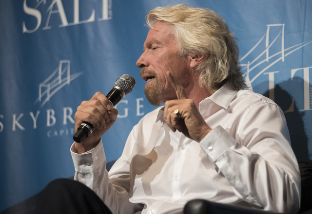 Virgin Group founder Sir Richard Branson, speaks about the U.S. Drug Policy & the War on Drugs during a panel discussion at the SALT Conference at the Bellagio hotel-casino in Las Vegas on Thu ...