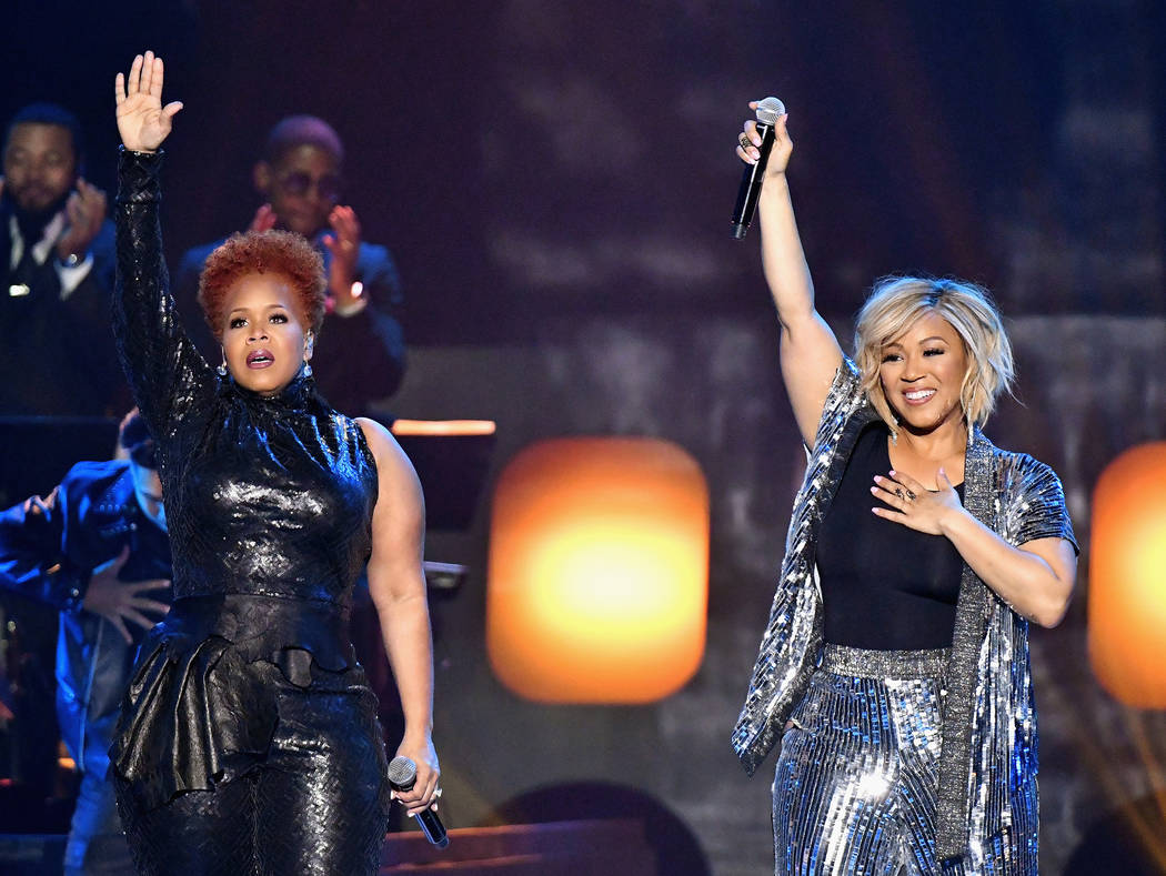 LAS VEGAS, NV - MARCH 24: Tina Campbell (L) and Erica Campbell of Mary Mary perform during the 33rd annual Stellar Gospel Music Awards at the Orleans Arena on March 24, 2018 in Las Vegas, Nevada.  ...