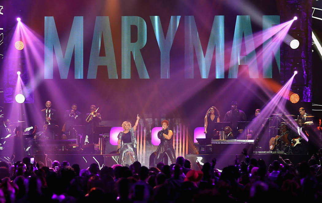 LAS VEGAS, NV - MARCH 24:  Erica Campbell (L) and Tina Campbell of Mary Mary perform during the 33rd annual Stellar Gospel Music Awards at the Orleans Arena on March 24, 2018 in Las Vegas, Nevada. ...
