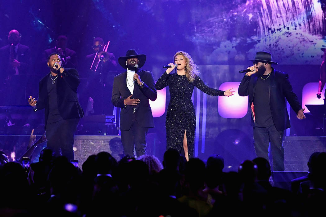LAS VEGAS, NV - MARCH 24:  Tori Kelly (2nd R) and The Hamiltones perform during the 33rd annual Stellar Gospel Music Awards at the Orleans Arena on March 24, 2018 in Las Vegas, Nevada.  (Photo by  ...
