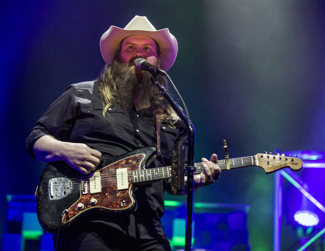Country musician Chris Stapleton performs at the MGM Grand Garden Arena in Las Vegas on Friday, March 23, 2018.  Patrick Connolly Las Vegas Review-Journal @PConnPie