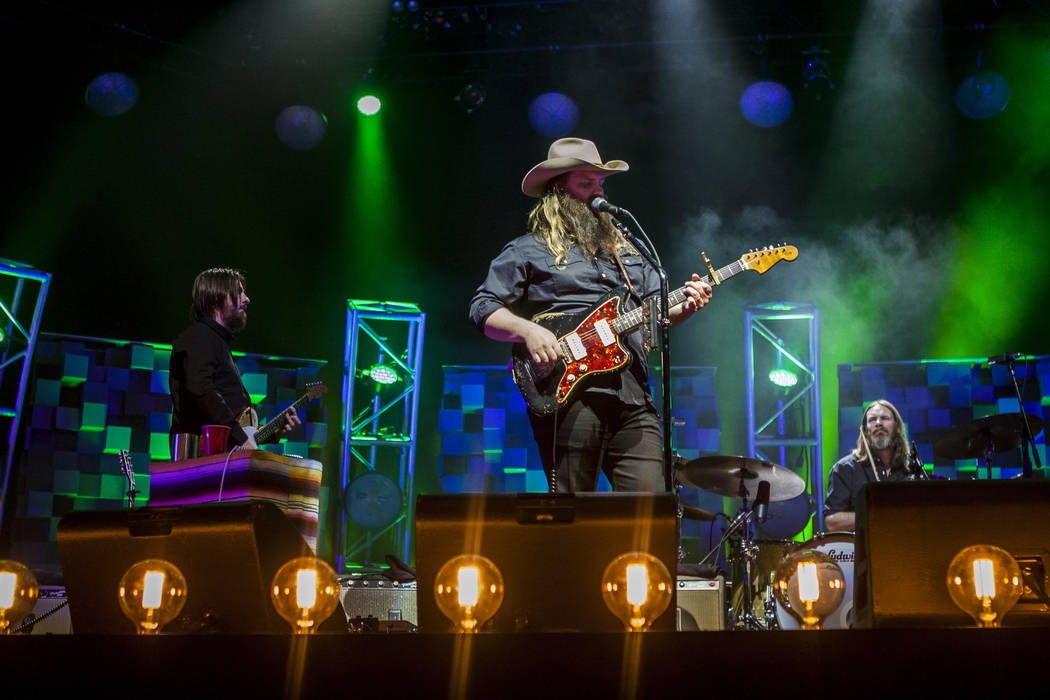 Country musician Chris Stapleton performs with his band at the MGM Grand Garden Arena in Las Vegas on Friday, March 23, 2018.  Patrick Connolly Las Vegas Review-Journal @PConnPie