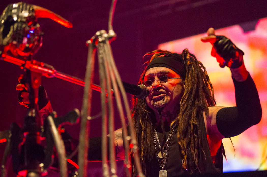 Al Jourgensen of Ministry performs at Brooklyn Bowl in Las Vegas on Saturday, March 24, 2018. Chase Stevens Las Vegas Review-Journal @csstevensphoto