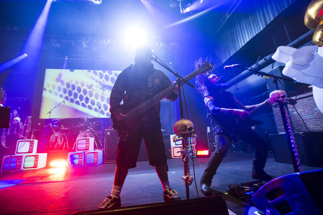 Tony Campos, left, and Cesar Soto of Ministry perform at Brooklyn Bowl in Las Vegas on Saturday, March 24, 2018. Chase Stevens Las Vegas Review-Journal @csstevensphoto