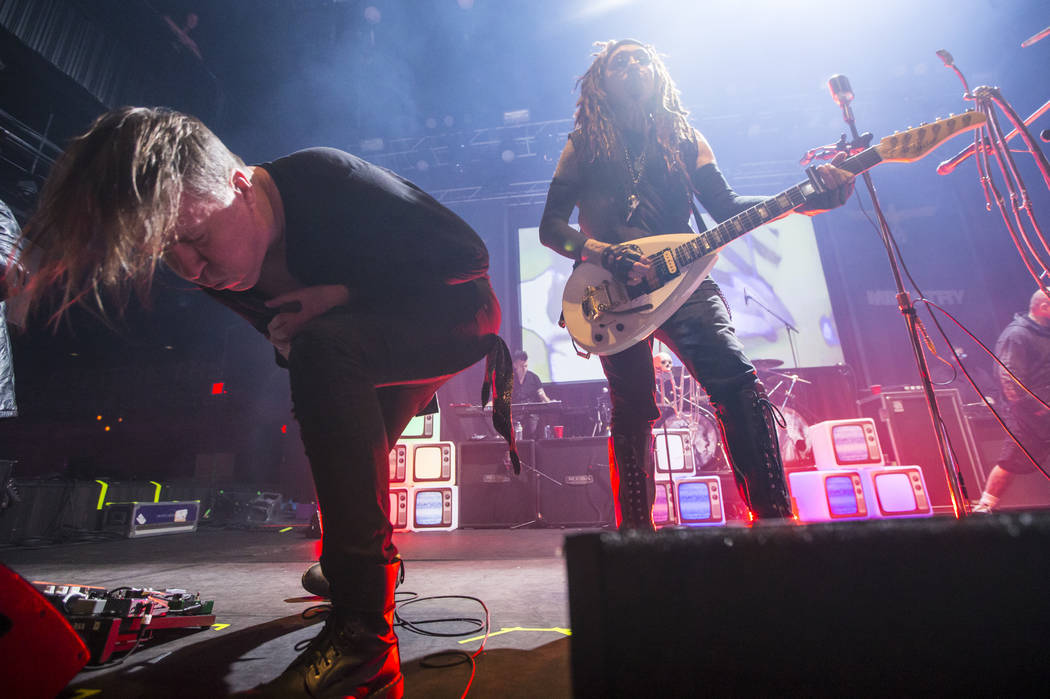 Fear Factory vocalist Burton C. Bell, left, joins Al Jourgensen of Ministry for a performance at Brooklyn Bowl in Las Vegas on Saturday, March 24, 2018. Chase Stevens Las Vegas Review-Journal @css ...