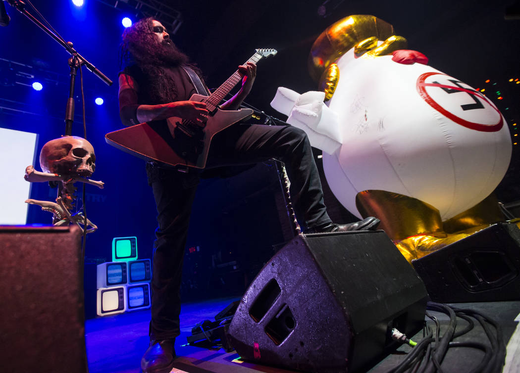 Cesar Soto of Ministry performs at Brooklyn Bowl in Las Vegas on Saturday, March 24, 2018. Chase Stevens Las Vegas Review-Journal @csstevensphoto