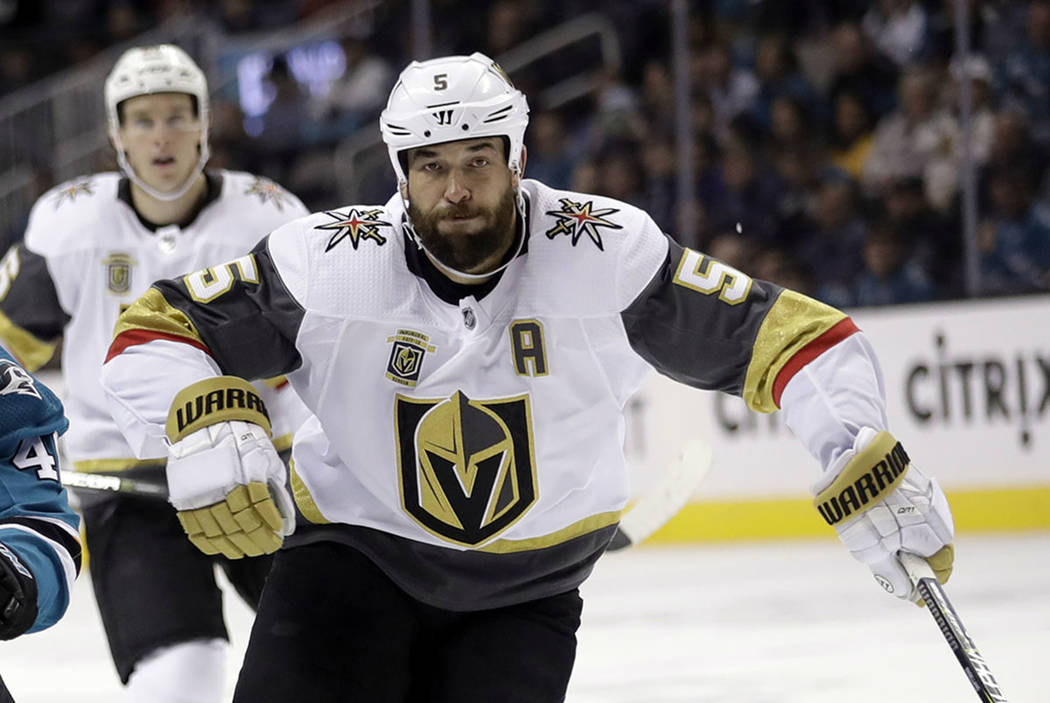 Vegas Golden Knights' Deryk Engelland (5) plays against the San Jose Sharks during the second period of an NHL hockey game Thursday, March 22, 2018, in San Jose, Calif. (AP Photo/Marcio Jose Sanchez)
