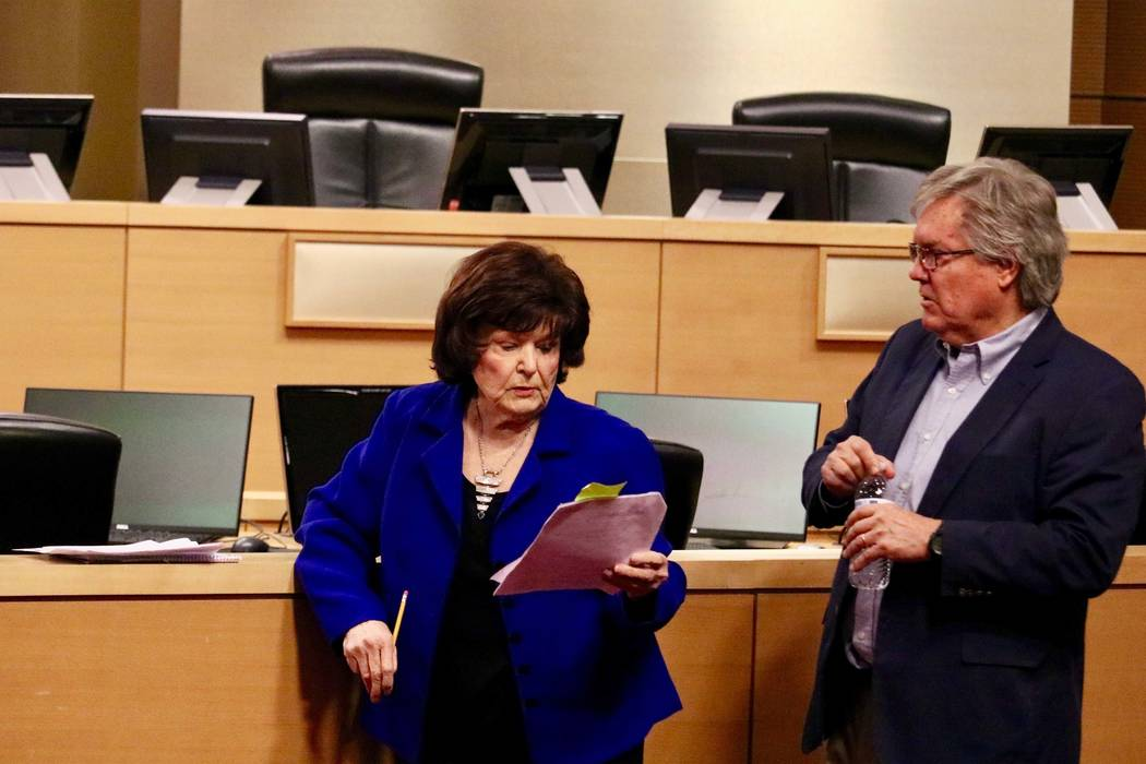Mayor Pro-Tem Lois Tarkanian and Sen. Tick Segerblom before a press conference calling for retail marijuana excise taxes to be redirected back to education in Las Vegas, Monday, March 26, 2018. (M ...