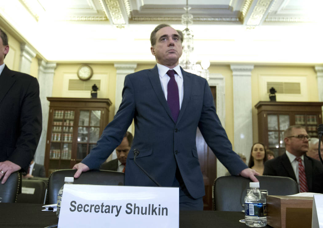 Veterans Affairs Secretary David Shulkin arrives to testify on veterans programs before the Senate Committee on Veterans Affairs at Capitol Hill, Wednesday, March 21, 2018, in Washington. (AP Phot ...