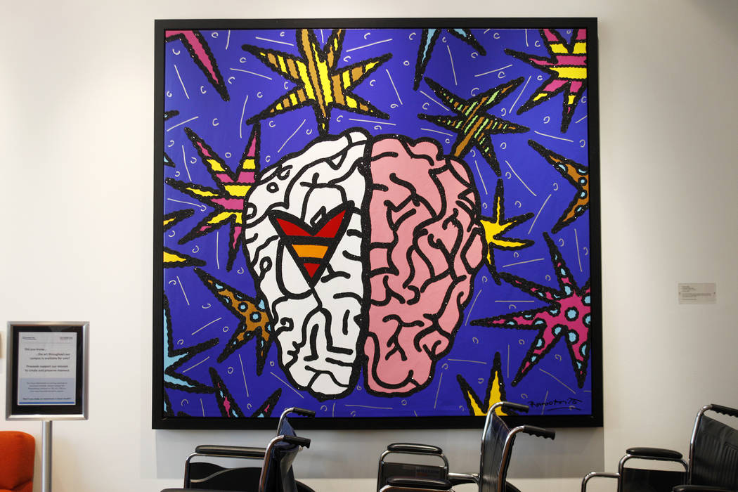 A painting and wheelchairs in the lobby at the Cleveland Clinic in Las Vegas, Monday, March 26, 2018. A new study released Tuesday by the Alzheimer's Association reports that Nevada will see a lar ...