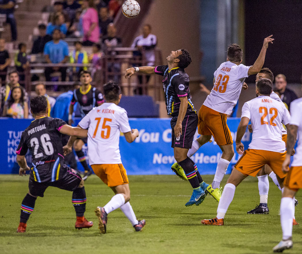 Lights forward Sammy Ochoa goes up for a header during the first half of a game against the Swope Park Rangers at Cashman Field in Las Vegas on Saturday, March 31, 2018.  Patrick Connolly Las Vega ...