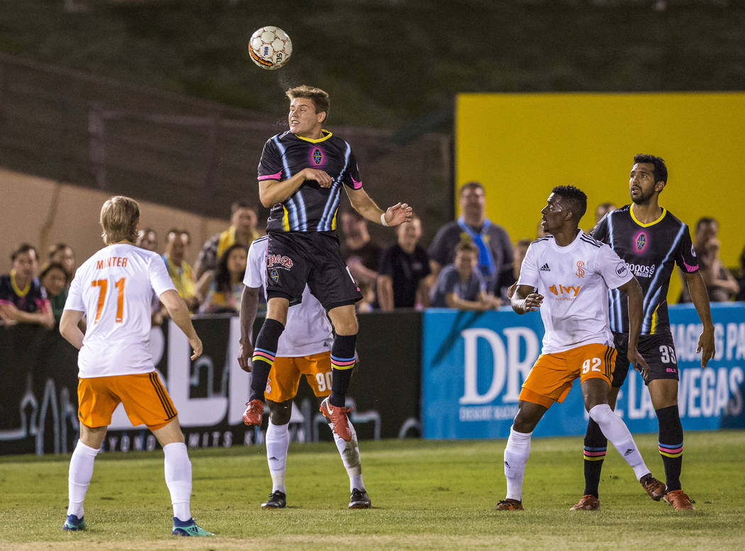Lights midfielder Alex Mendoza heads the ball during the second half of a United Soccer League game at Cashman Field in Las Vegas on Saturday, March 31, 2018. The Lights won 2-1.  Patrick Connolly ...